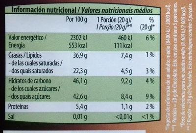 Chocolate negro 57% de cacao - Informació nutricional