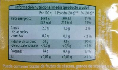 Espelta refinada - Informació nutricional