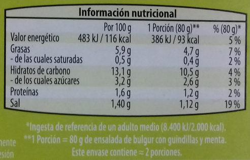 Ensalada de bulgur con guindillas y menta - Informació nutricional - es