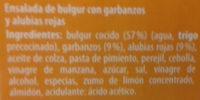 Ensalada de bulgur con garbanzos y alubias rojas - Ingredientes - es