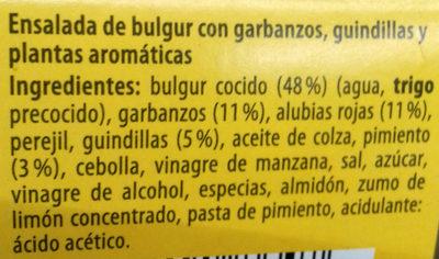 Ensalada de bulgur con garbanzos, guindillas y plantas aromáticas - Ingredientes