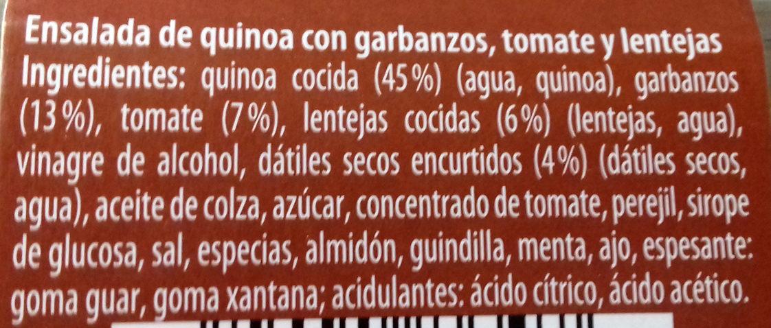 Ensalada de quinoa con garbanzos, tomate y lentejas - Ingredients - es