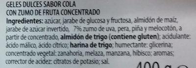 Cintas pica cola - Ingrédients - es