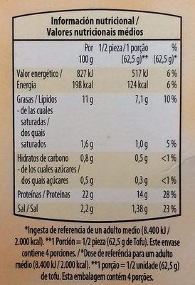 Tofu ahumado - Información nutricional