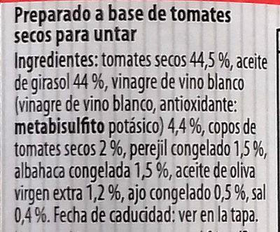 Preparado para untar Bruscheta con tomates secos - Ingredients