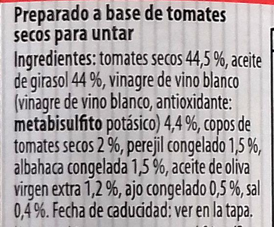 Preparado para untar bruschetta con tomates secos - Ingredientes - es