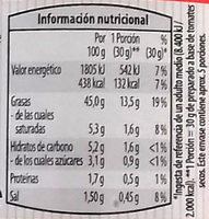 Preparado para untar bruschetta con tomates secos - Información nutricional - es