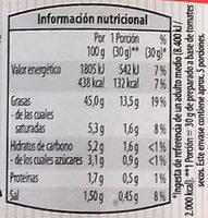 Preparado para untar Bruscheta con tomates secos - Informació nutricional