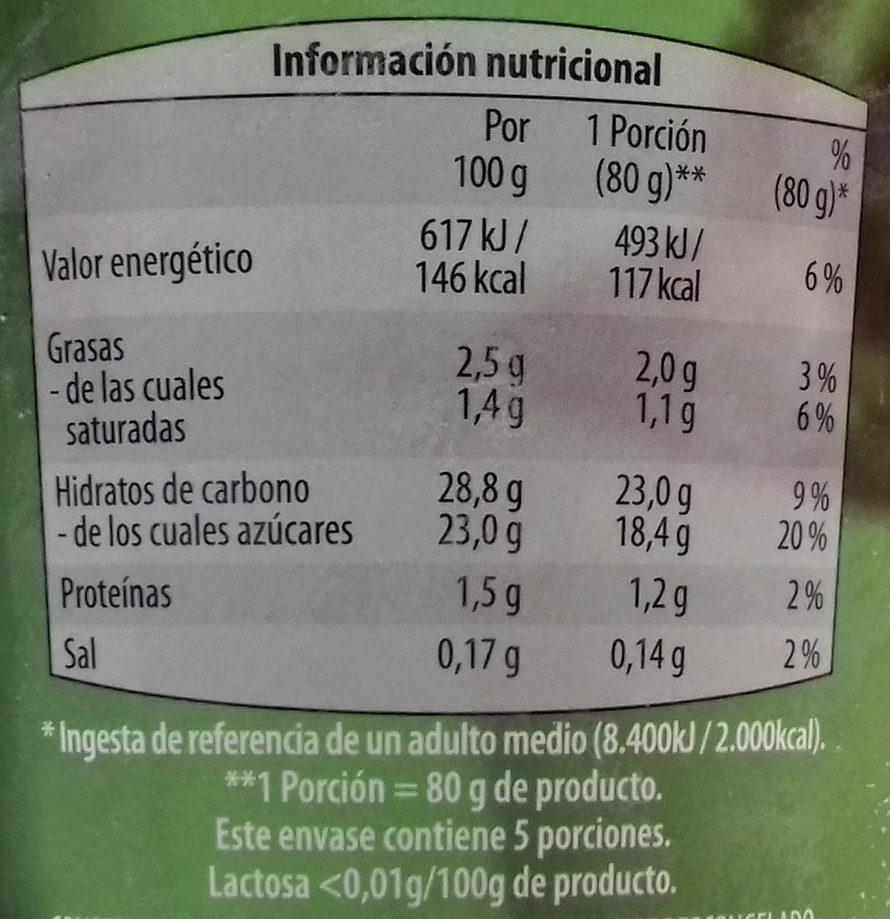 Capricho de almendras - Información nutricional