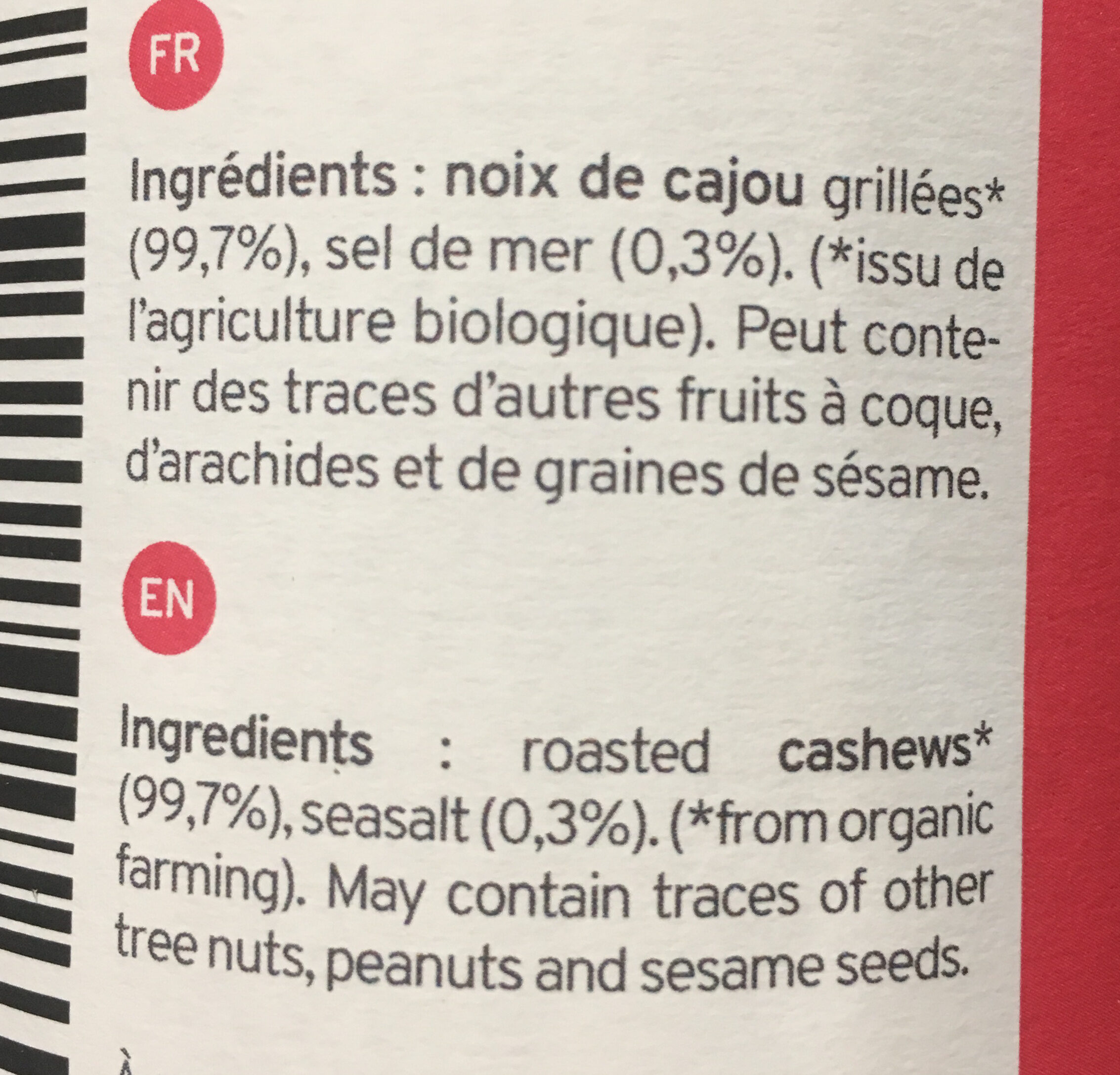 Organic Cashew Butter - Ingrediënten