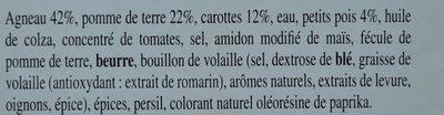 Navarin d'Agneau - Informations nutritionnelles - fr