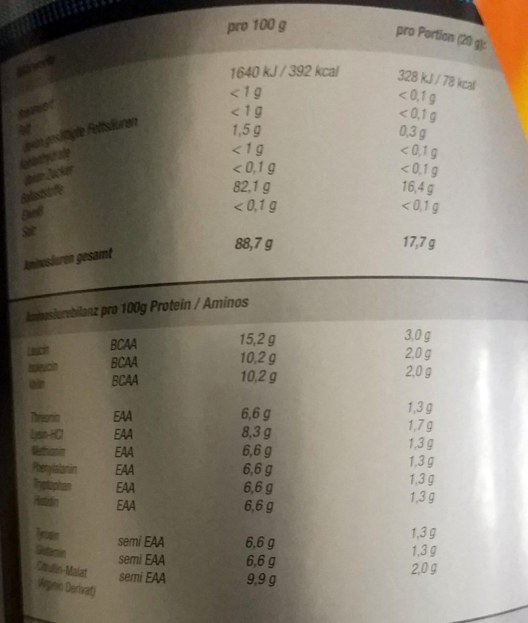 EAA Anabol Maracuja - Voedingswaarden - de