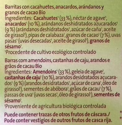 Barritas crujientes - Ingredients - es