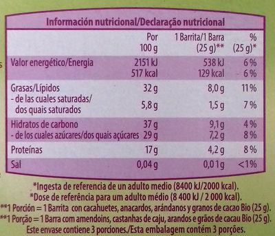 Barritas crujientes - Informació nutricional - es