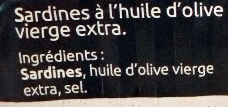 Sardines à l'Huile d'Olive Vierge Extra - La Nuit des Sables Blancs 2015 Douarnenez - Ingredients - fr