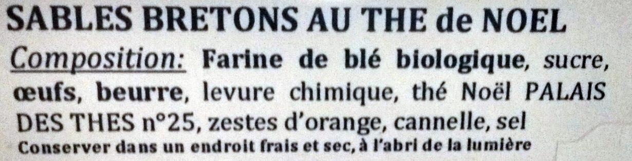 Sablés Bretons au Thé de Noël - Ingrédients