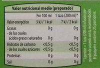 Infusión de hierbas Jengibre y Limoncillo - Información nutricional