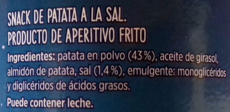 Aperitivo de Patata Salado - Ingredients