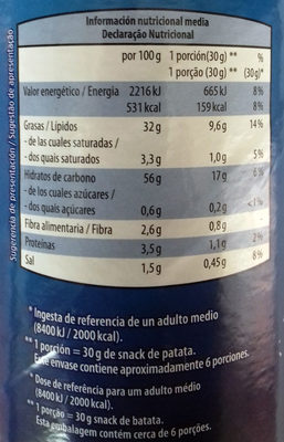Aperitivo de Patata Salado - Informació nutricional