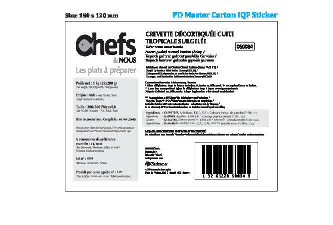 Crevette décortiquée cuite tropicale surgelée - Ingredients - fr