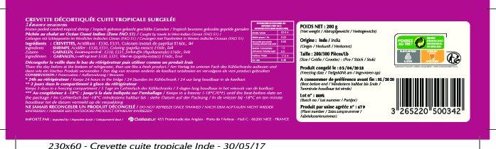 Crevette décortiquée cuite tropicale surgelée - Nutrition facts - fr
