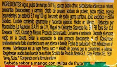 Nestle Agüitas Mango - Ingredients