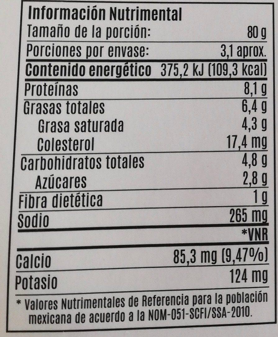 Jocoque seco con chipotle - Informations nutritionnelles - es