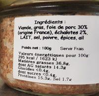TERRINE A L'ECHALOTE - Ingrediënten