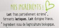 Yaourt à boire nature BIO YOgourmand - Ingredients