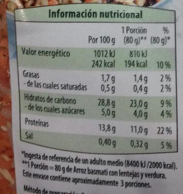 Arroz basmati con lentejas y verduras - Voedingswaarden - es