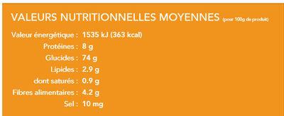 Tagliatelles de riz brun - Informations nutritionnelles - fr