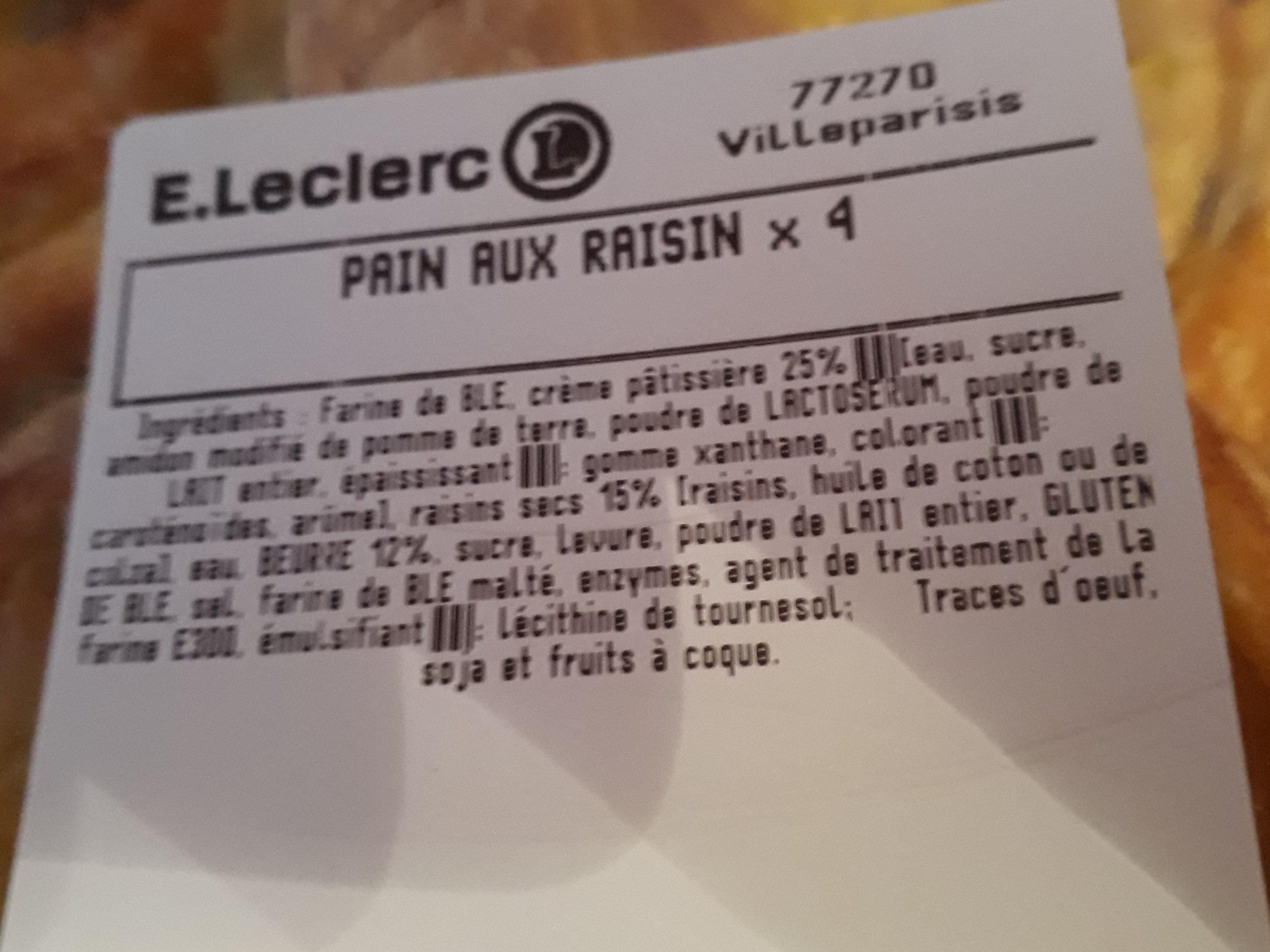 Pains aux raisins - Ingrédients - fr