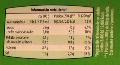 Filete de Tofu Espinacas congelado - Información nutricional