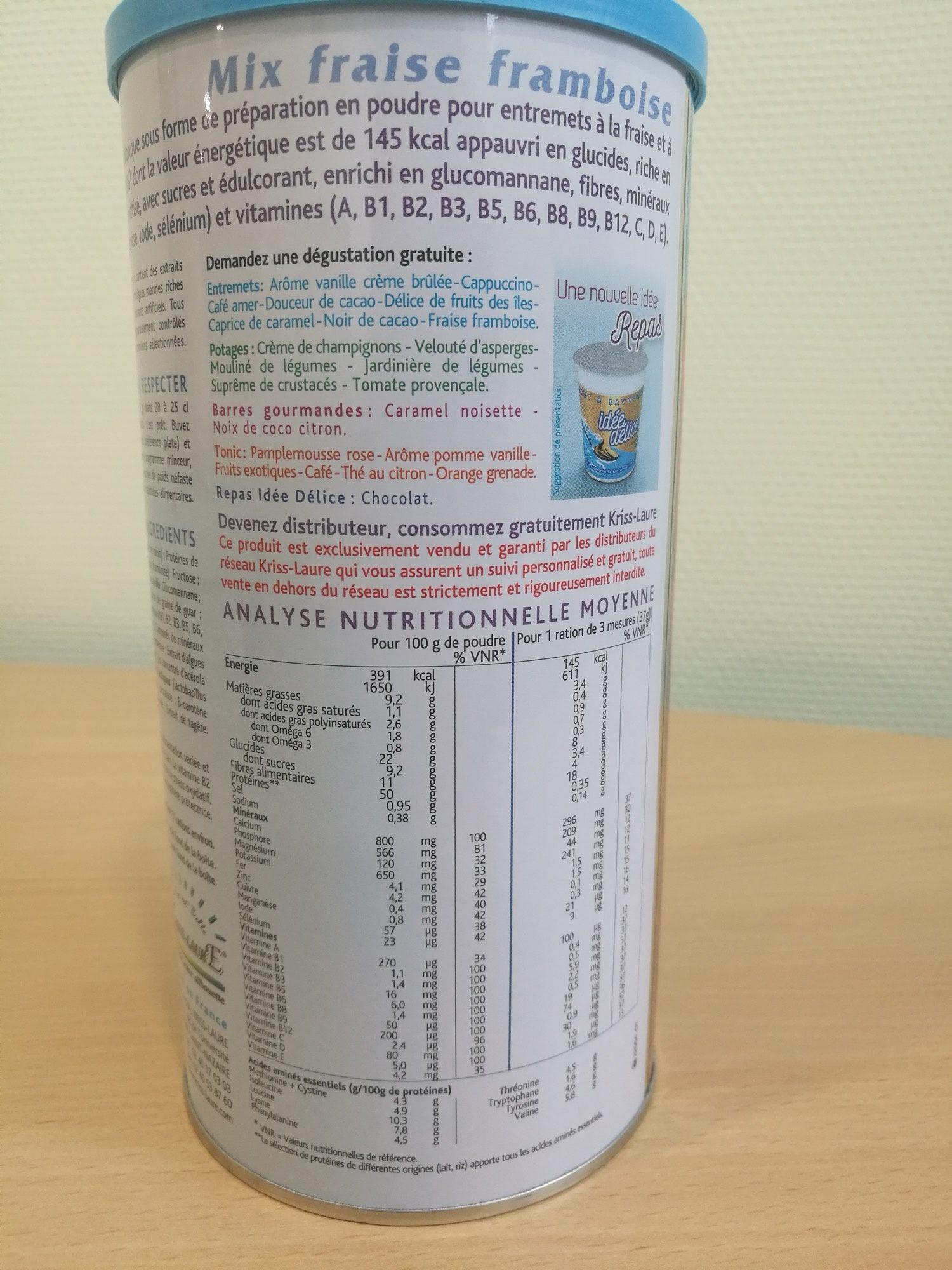 Mix Fraise Framboise Kriss-Laure reconstitué (37g dans 200 ml d'eau) - Nutrition facts - fr