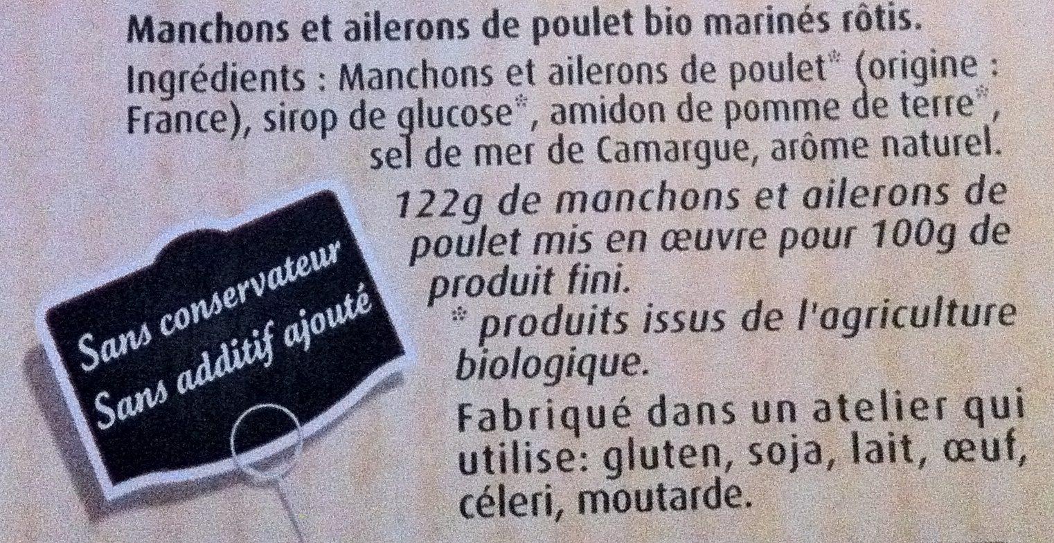 Manchons/ailerons de poulet bio rôtis Maître Coq - Ingrédients