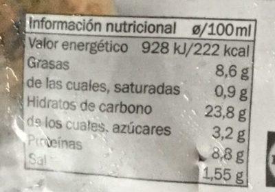 Falafel estilo mediterráneo - Información nutricional
