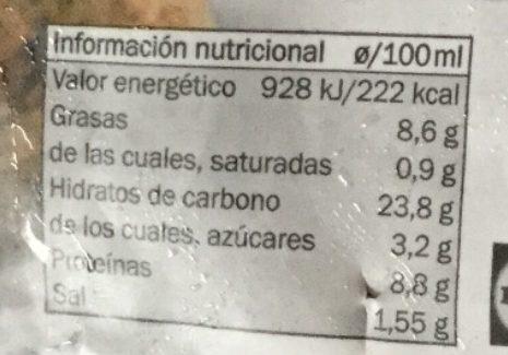 Falafel estilo mediterráneo - Información nutricional - es