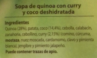 Sopa de quinoa con curry y coco - Ingredients
