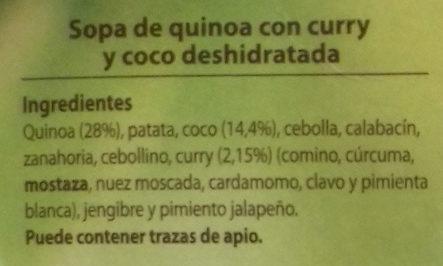 Sopa de quinoa con curry y coco - Ingredientes - es