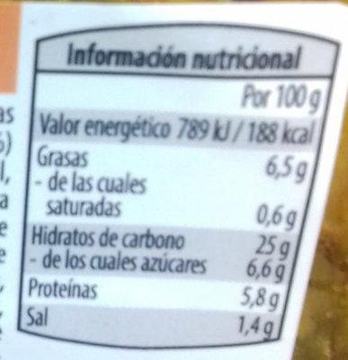 Ensalada de quinoa al curry con semillas de soja, boniato y lentejas - Nutrition facts - es