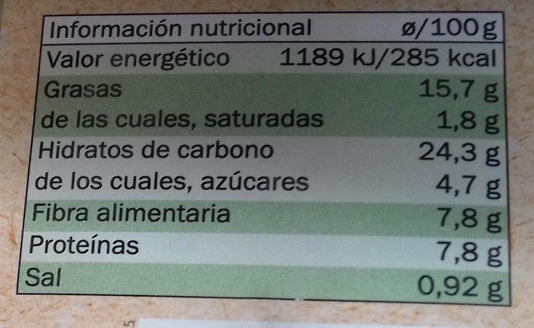 Untable vegetal rábano picante y manzana - Informations nutritionnelles - es