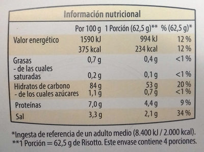 Risotto de puerro y patata - Informations nutritionnelles - es