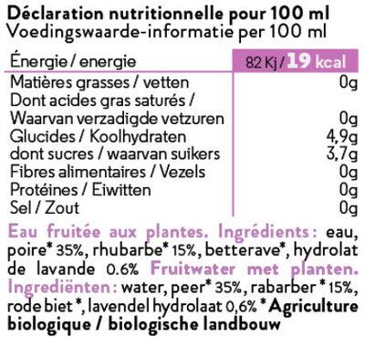Hydrolade Rhubarbe + Lavande - Ingredients - fr