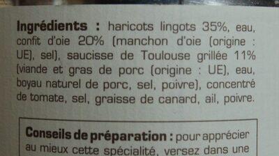 Cassoulet de Castelnaudary au confit d'oie - Ingrédients - fr