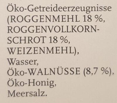 Pfister Öko-Walnussbrot - Ingredients - de
