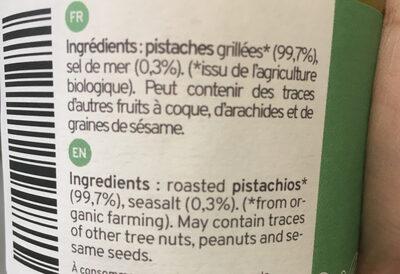 Organic pistachio butter - Ingrediënten - en