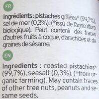 Purée de Pistaches Bio Kazidomi - Ingrédients - fr