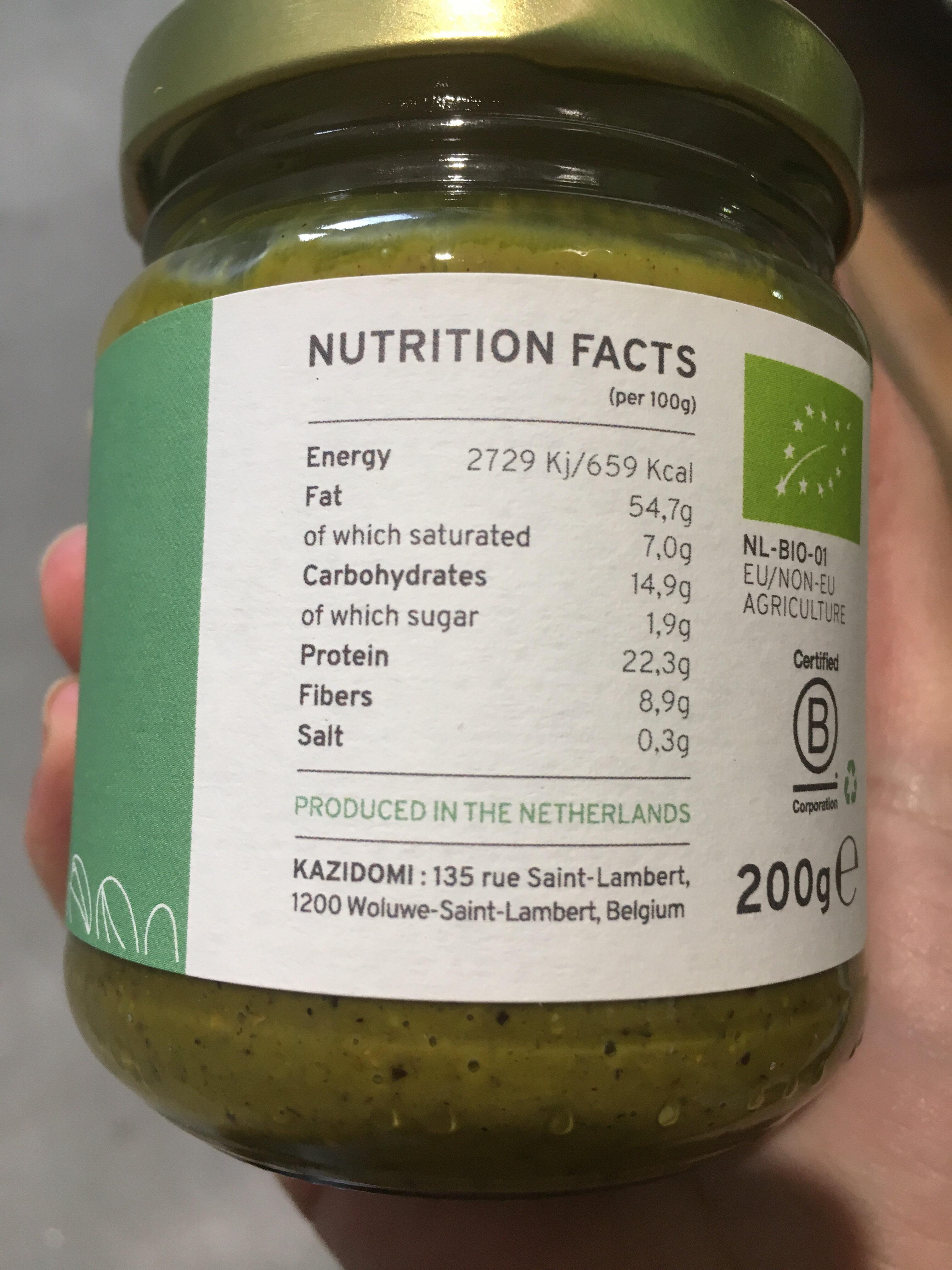 Organic pistachio butter - Voedingswaarden - en