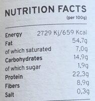 Purée de Pistaches Bio Kazidomi - Informations nutritionnelles - fr