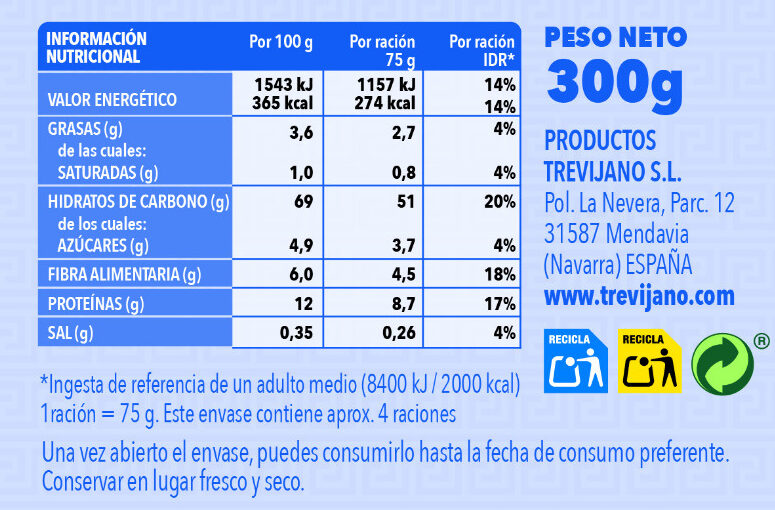 Cous Cous Mediterráneo - Informação nutricional - es